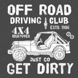 T-shirt design, offroad driving club with suv car typography graphics, vector illustration Royalty Free Stock Photos