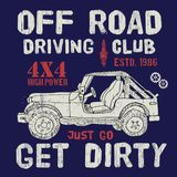 T-shirt design, offroad driving club with suv car typography graphics, vector illustration Royalty Free Stock Photography