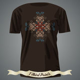 T-shirt design with ornate exotic colorful cross Stock Images