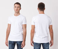 T-shirt design and people concept - close up of young man in blank white t-shirt, shirt, front and rear isolated. Clean shirt mock royalty free stock photography