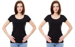 T-shirt design and people concept - close up of young woman in shirt blank black t shirt isolated.  stock images