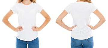T-shirt design and people concept - close up of young woman in blank white t-shirt, shirt front and rear isolated. Mock up stock photo