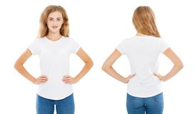 T-shirt design and people concept - set caucasian woman in white tshirt isolated on white background,shirt front and rear.  stock photos