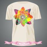 T-shirt design with rainbow flower Stock Photos