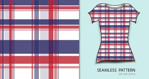 T-shirt design, Red and blue plaid tartan seamless pattern. Vector illustration, fabric texture, patterned clothing, abstract background Stock Image