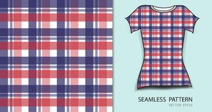T-shirt design, Red and blue plaid tartan seamless pattern. Vector illustration, fabric texture, patterned clothing, abstract background Stock Photos