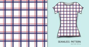 T-shirt design, Red and blue plaid tartan seamless pattern. Vector illustration, fabric texture, patterned clothing, abstract background Stock Photography