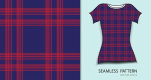 T-shirt design, Red and blue plaid tartan seamless pattern  Stock Photos