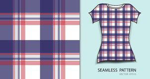 T-shirt design, Red and blue plaid tartan seamless pattern vector illustration, fabric texture, patterned clothing. Abstract background Stock Images