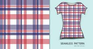 T-shirt design, Red and blue plaid tartan seamless pattern vector illustration, fabric texture, patterned clothing. Abstract background Royalty Free Stock Photos