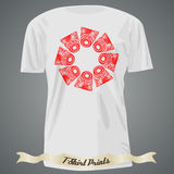 T-shirt design with  red tribal pattern Stock Photography