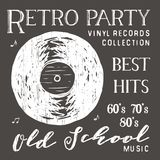 T-shirt design, retro party with vinyl record typography graphics, vector illustration.  Stock Image