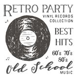 T-shirt design, retro party with vinyl record typography graphics, vector illustration Stock Photos