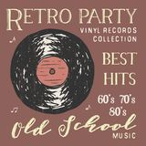 T-shirt design, retro party with vinyl record typography graphics, vector illustration.  Royalty Free Stock Photos
