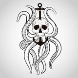 T-shirt design. Skull with octopus and anchor in a tattoo style. Royalty Free Stock Photography