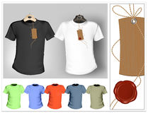 T-shirt design template. Black, white and color. Vector illustration. T-shirt design template. Black, white and color. Tag with sealing wax Stock Image
