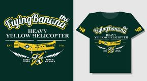 T-shirt Design wears print with yellow rescue helicopter. T-shirt Design wears print cool Royalty Free Stock Photos