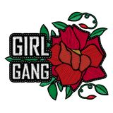 T-shirt design for woman. Girl Power - fashion badge or patch wi. Th slogan. Embroidery Rose with Leaves for rock girl gang. Vector design element, sticker, pin Stock Image