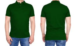 T-shirt design - man in blank dark green polo shirt isolated Stock Images