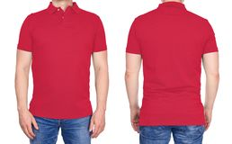 T-shirt design - man in blank light red polo shirt isolated stock images