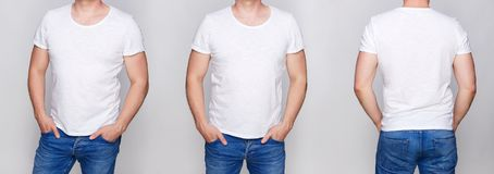 T-shirt design - young man in blank white tshirt front. From side and rear on gray backround Royalty Free Stock Image