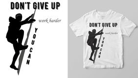 T-shirt desing. Man climbs a mountain. Print for t-shirts and sweatshirts. Silhouette man climbs a mountain stock illustration