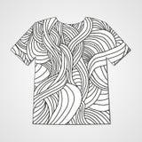T-shirt do projeto com teste padrão tirado mão da garatuja Cópia abstrata Foto de Stock