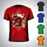T-shirt do vetor ajustado em um tema do casino Foto de Stock