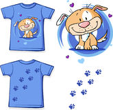 T-shirt with dog - cute vector illustration Royalty Free Stock Photos