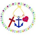 T-Shirt Druckdesign, -kreuz, -anker und -herz, -symbole des Glaubens, -hoffnung und -liebe Stockfotos