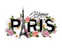T-Shirt Druckdesign mit Slogan hallo Paris, Eiffelturm, Rahmen und rosa Rosen Lizenzfreies Stockfoto