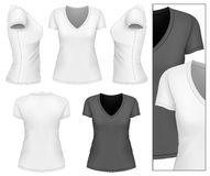 T-shirt du v-cou des femmes Photo stock