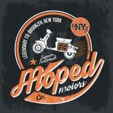 T-shirt  emblem. Vintage American moped old grunge effect tee print vector design illustration Stock Photos