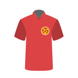 T-shirt employee pizzeria with pizza image. Vector Illustration. Stock Photo