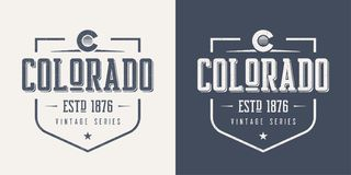 T-shirt en kleding van de staat van Colorado de de geweven uitstekende vector desig royalty-vrije illustratie