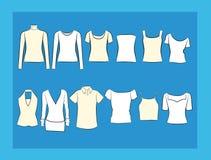 T-shirt en van blousesillustracion reeks Royalty-vrije Stock Afbeeldingen