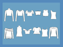 T-shirt en van blousesillustracion reeks Stock Fotografie