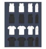 T-shirt en van mouwloze onderhemdenillustracion reeks stock illustratie