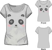 Gray t shirt with fashion print with Vector illustration of cute embroidery of white and pink toy panda. T shirt with fashion print with Vector illustration of Royalty Free Stock Images