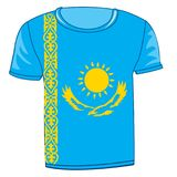 T-shirt flag Kazakhstan. On white background is insulated Royalty Free Stock Image