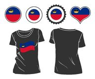 T-shirt with the flag of Liechtenstein Royalty Free Stock Images