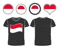 T-shirt with the flag of Monaco Stock Photos