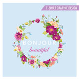 T-shirt Floral Graphic Design Stock Images