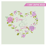 T-shirt Floral Heart Graphic Design Stock Photography