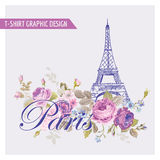 T-shirt Floral Paris Graphic Design Royalty Free Stock Photography