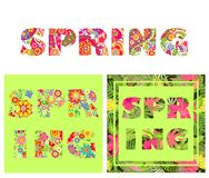 T-shirt floral prints with spring lettering. T-shirt floral colorful prints with spring lettering with abstract and exotic flowers and palm leaves Royalty Free Stock Photo
