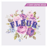 T-shirt Floral Shabby Chic Graphic Design Stock Image