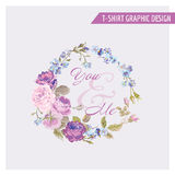 T-shirt Floral Shabby Chic Graphic Design Royalty Free Stock Images