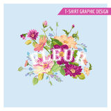 T-shirt Floral Shabby Chic Graphic Design Royalty Free Stock Photos