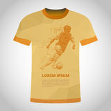 T-Shirt with Football player in dynamics on small particles. Use this vector illustration for design your website or publications Stock Photos